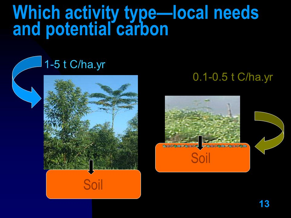 13 Which activity type—local needs and potential carbon Soil 1-5 t C/ha.yr t C/ha.yr Soil