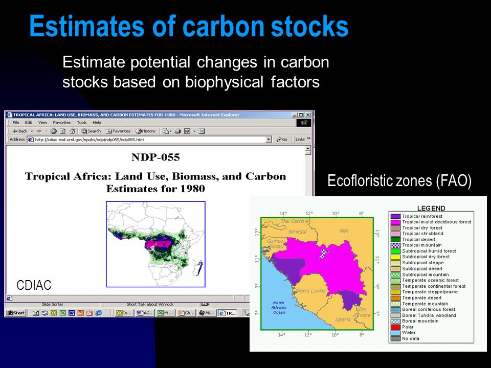 14 Estimates of carbon stocks Estimate potential changes in carbon stocks based on biophysical factors CDIAC Ecofloristic zones (FAO)