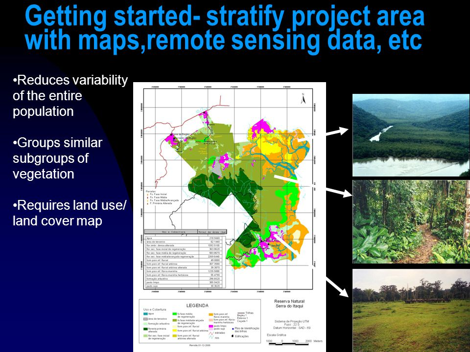 18 Getting started- stratify project area with maps,remote sensing data, etc Reduces variability of the entire population Groups similar subgroups of vegetation Requires land use/ land cover map
