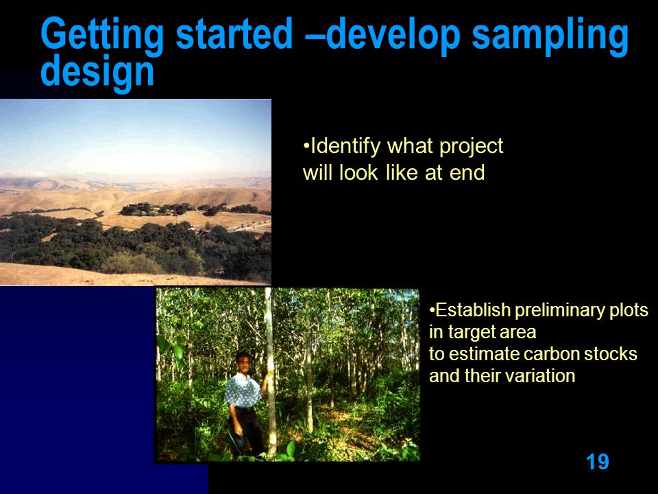 19 Getting started –develop sampling design Identify what project will look like at end Establish preliminary plots in target area to estimate carbon