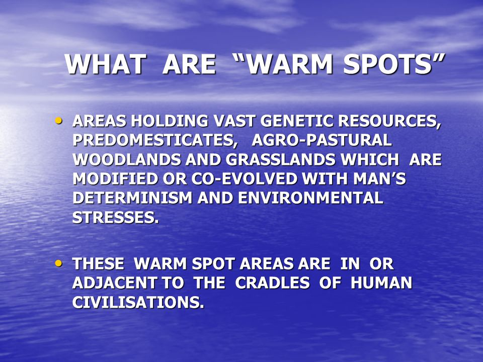 WHAT ARE WARM SPOTS AREAS HOLDING VAST GENETIC RESOURCES, PREDOMESTICATES, AGRO-PASTURAL WOODLANDS AND GRASSLANDS WHICH ARE MODIFIED OR CO-EVOLVED WITH MAN'S DETERMINISM AND ENVIRONMENTAL STRESSES.