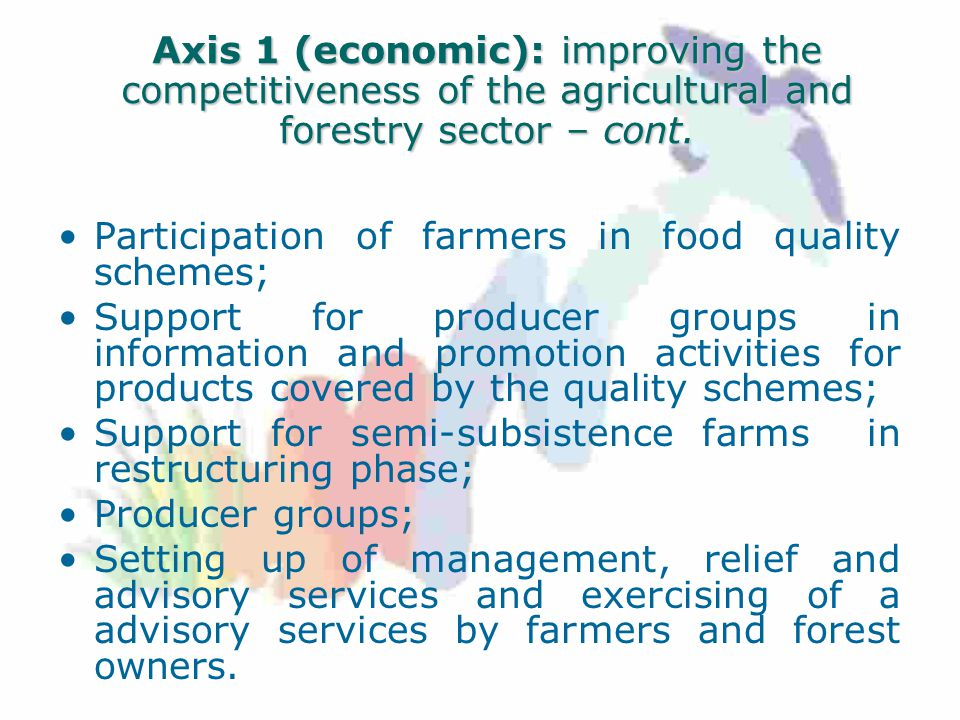 Axis 1 (economic): improving the competitiveness of the agricultural and forestry sector – cont.