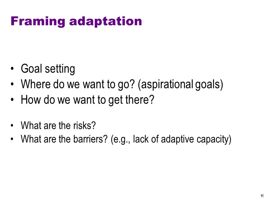 11 Framing adaptation Goal setting Where do we want to go.