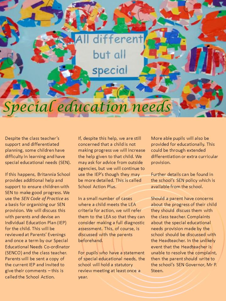 Despite the class teacher's support and differentiated planning, some children have difficulty in learning and have special educational needs (SEN).