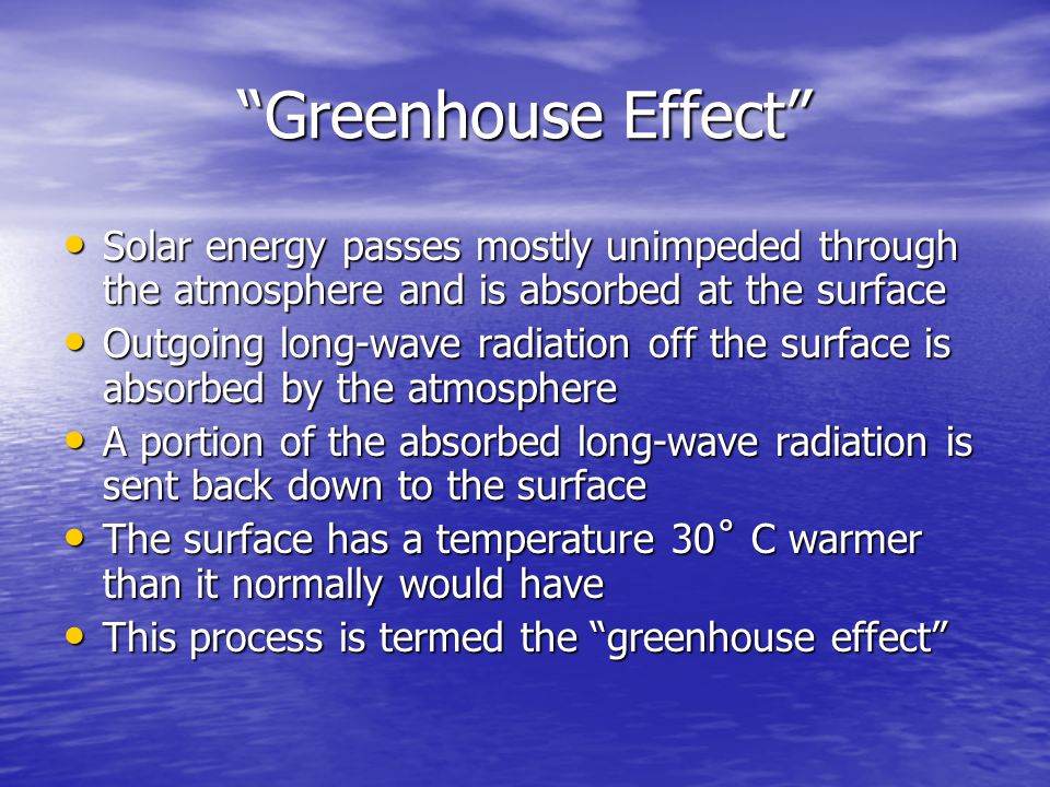 Greenhouse Effect Solar energy passes mostly unimpeded through the atmosphere and is absorbed at the surface Solar energy passes mostly unimpeded through the atmosphere and is absorbed at the surface Outgoing long-wave radiation off the surface is absorbed by the atmosphere Outgoing long-wave radiation off the surface is absorbed by the atmosphere A portion of the absorbed long-wave radiation is sent back down to the surface A portion of the absorbed long-wave radiation is sent back down to the surface The surface has a temperature 30˚ C warmer than it normally would have The surface has a temperature 30˚ C warmer than it normally would have This process is termed the greenhouse effect This process is termed the greenhouse effect