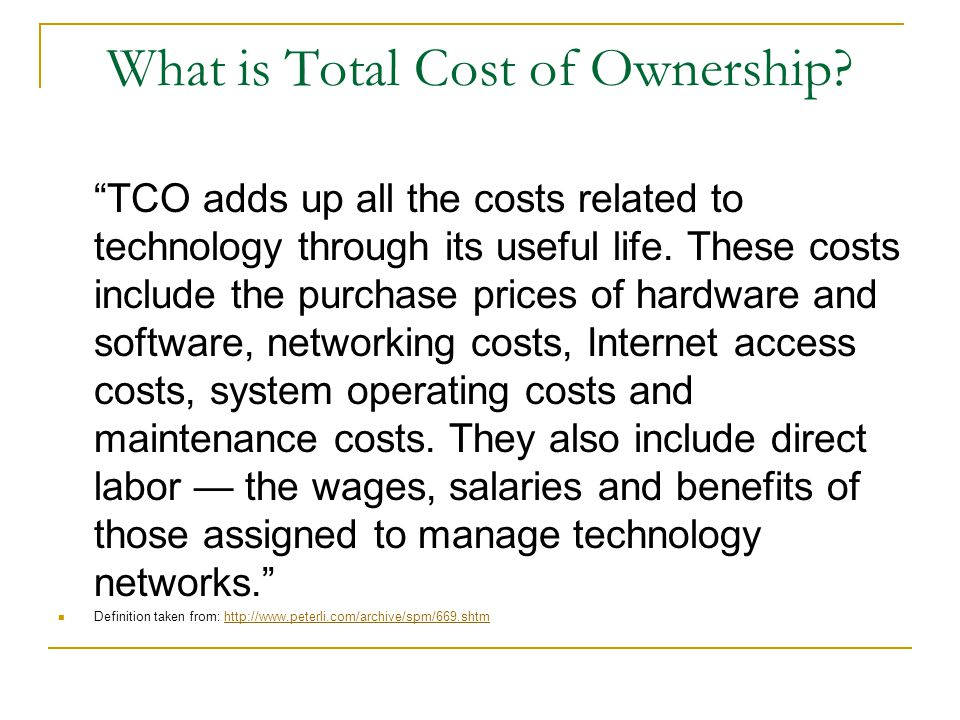 An Example of Total Cost of Ownership