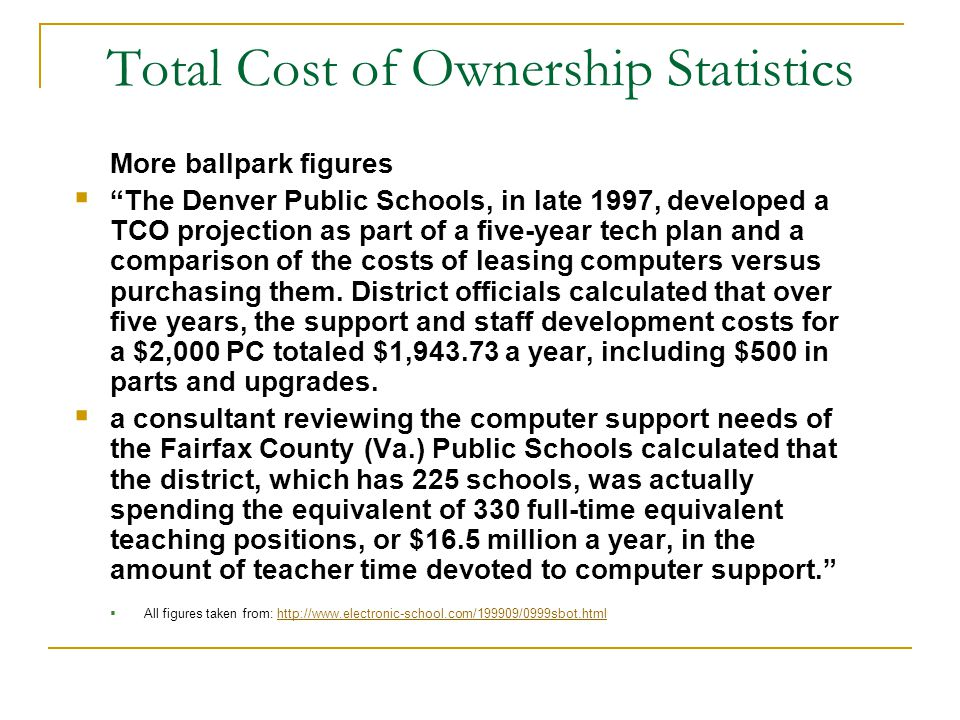 TCO: A Closer Look Budgeting for the Total Cost of Ownership of School Networks (Revised June 2003) Budgeting for the Total Cost of Ownership of School Networks (Revised June 2003) A downloadable PowerPoint presentation designed to help you explain the concept of Total Cost of Ownership to school administrators, school board members and other decision-makers.