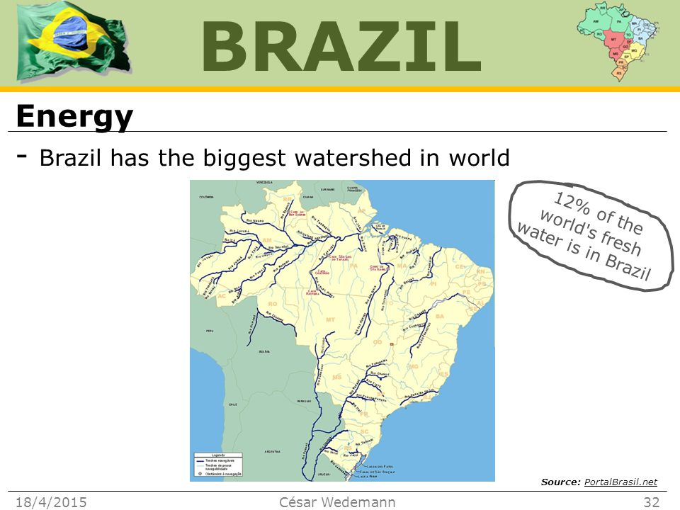 BRAZIL Energy - Brazil has the biggest watershed in world 18/4/2015César Wedemann32 12% of the world s fresh water is in Brazil Source: PortalBrasil.netPortalBrasil.net