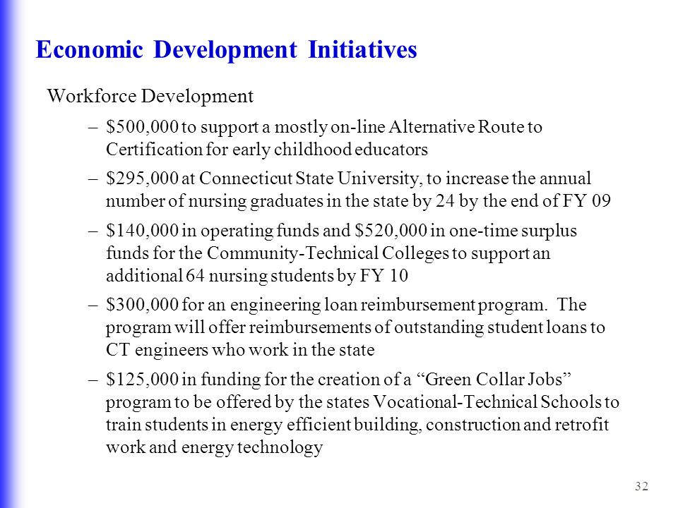 32 Economic Development Initiatives Workforce Development –$500,000 to support a mostly on-line Alternative Route to Certification for early childhood