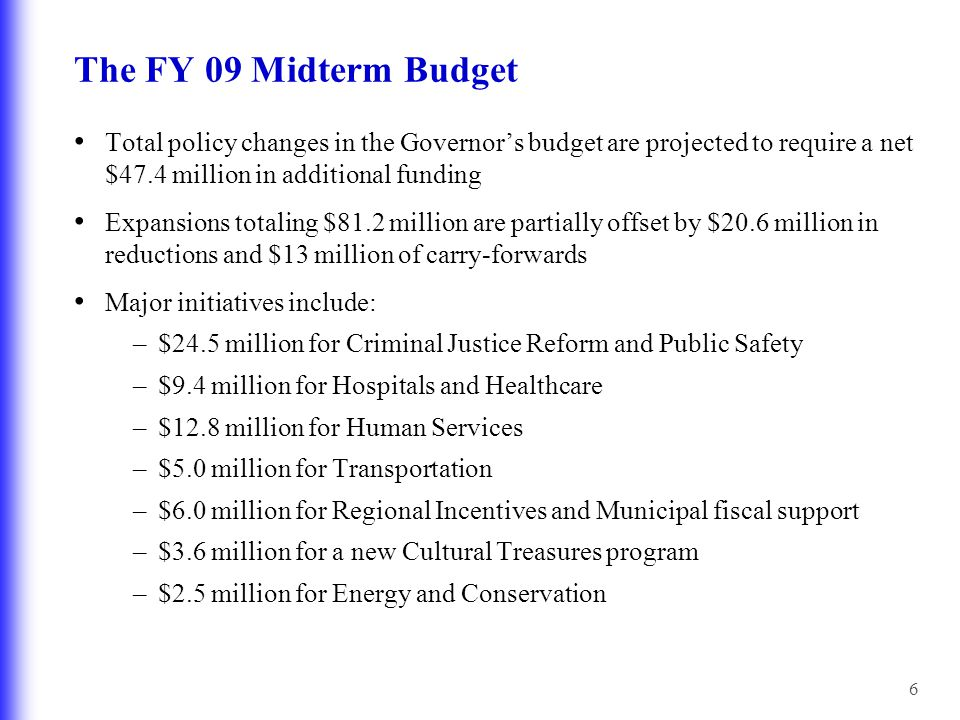 6 Total policy changes in the Governor's budget are projected to require a net $47.4 million in additional funding Expansions totaling $81.2 million a