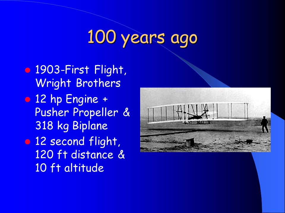 100 years ago 1903-First Flight, Wright Brothers 12 hp Engine + Pusher Propeller & 318 kg Biplane 12 second flight, 120 ft distance & 10 ft altitude