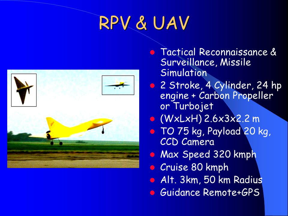 RPV & UAV Tactical Reconnaissance & Surveillance, Missile Simulation 2 Stroke, 4 Cylinder, 24 hp engine + Carbon Propeller or Turbojet (WxLxH) 2.6x3x2.2 m TO 75 kg, Payload 20 kg, CCD Camera Max Speed 320 kmph Cruise 80 kmph Alt.