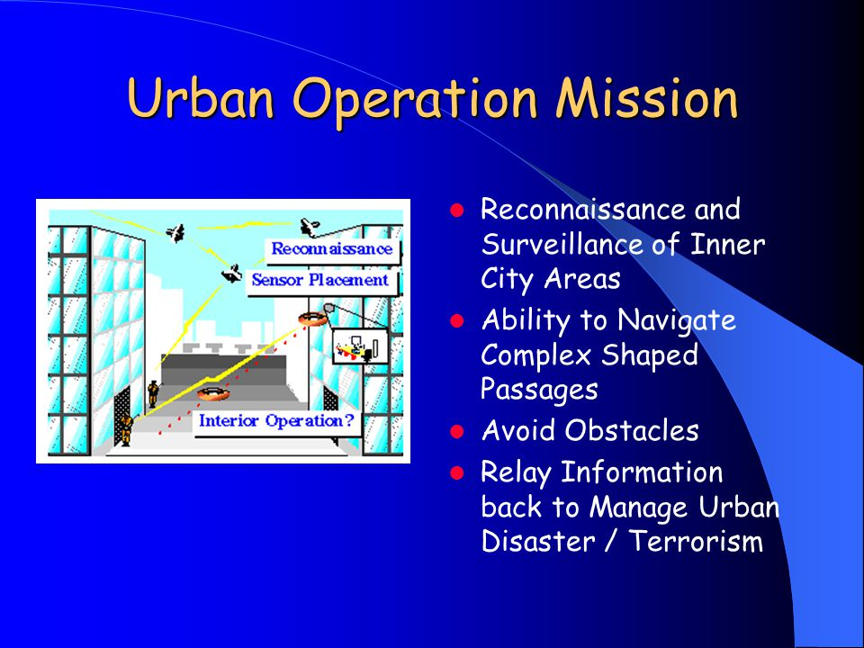Urban Operation Mission Reconnaissance and Surveillance of Inner City Areas Ability to Navigate Complex Shaped Passages Avoid Obstacles Relay Information back to Manage Urban Disaster / Terrorism