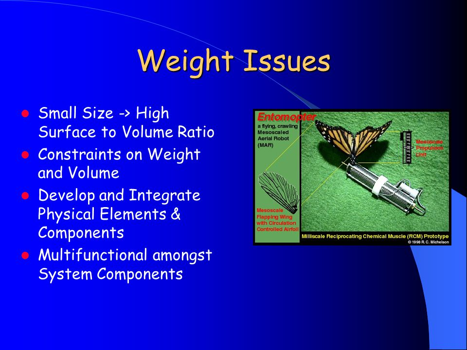 Weight Issues Small Size -> High Surface to Volume Ratio Constraints on Weight and Volume Develop and Integrate Physical Elements & Components Multifu