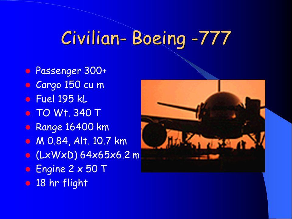 Civilian- Boeing -777 Passenger 300+ Cargo 150 cu m Fuel 195 kL TO Wt.