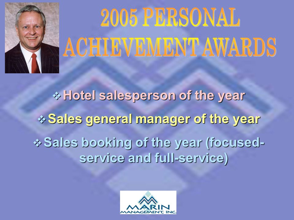  Hotel salesperson of the year  Sales general manager of the year  Sales booking of the year (focused- service and full-service)
