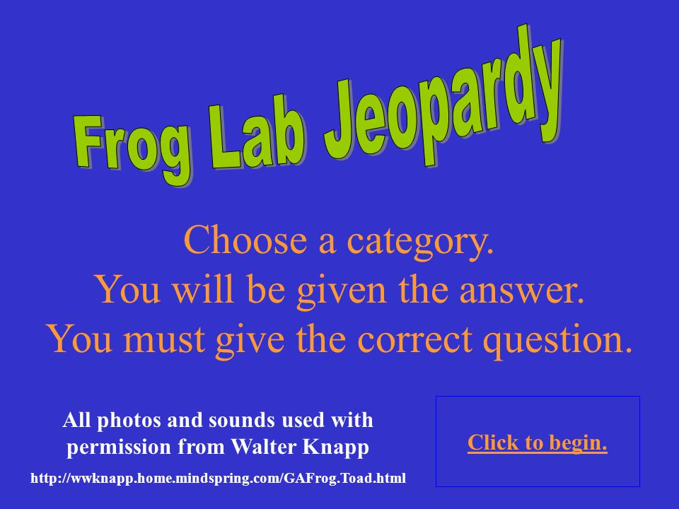 In order to make the most of this presentation you will need the Calls of the Wild- Vocalizations of Georgia's frogs, produced by Walter Knapp. It nee