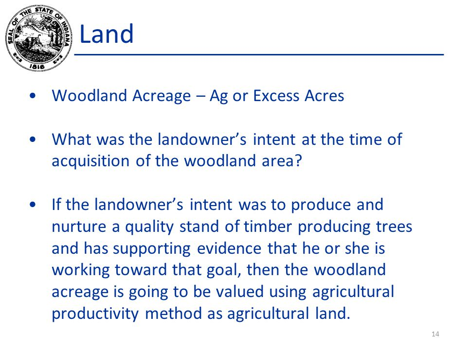 Land Woodland Acreage – Ag or Excess Acres What was the landowner's intent at the time of acquisition of the woodland area.