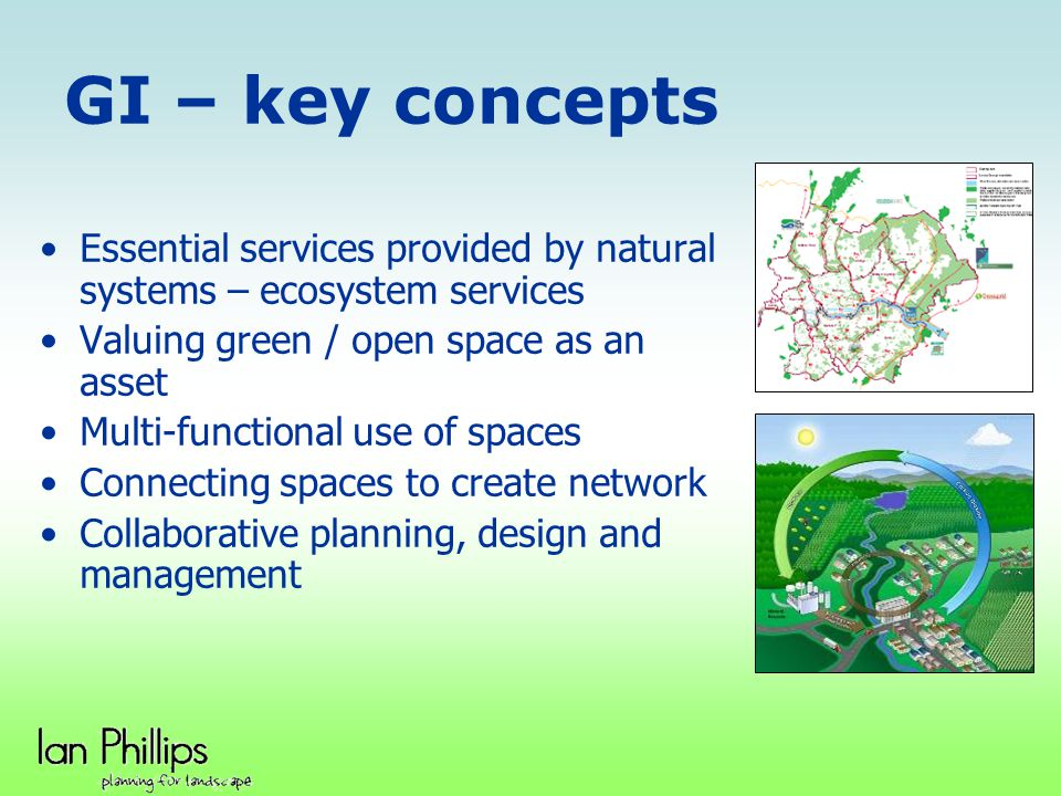 GI – key concepts Essential services provided by natural systems – ecosystem services Valuing green / open space as an asset Multi-functional use of s
