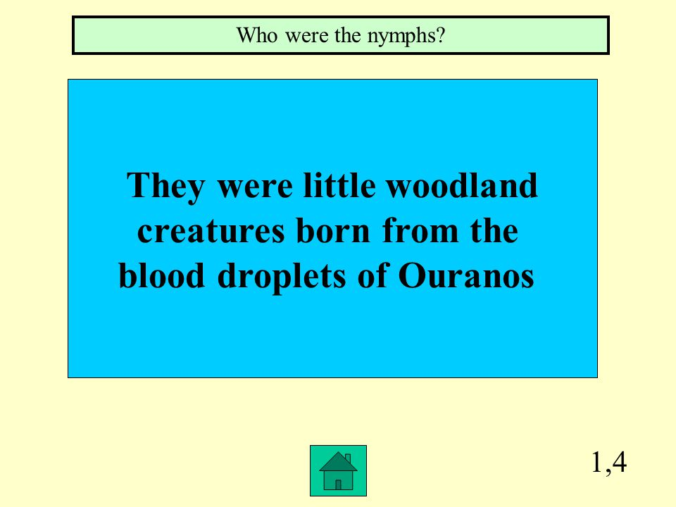 1,4 They were little woodland creatures born from the blood droplets of Ouranos Who were the nymphs?