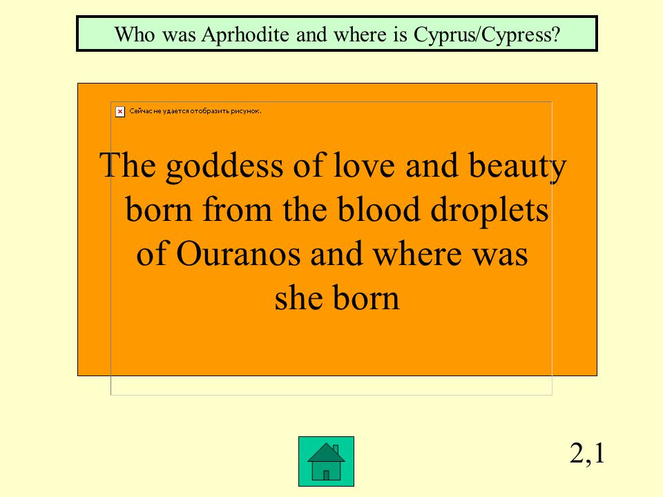 2,1 The goddess of love and beauty born from the blood droplets of Ouranos and where was she born Who was Aprhodite and where is Cyprus/Cypress?