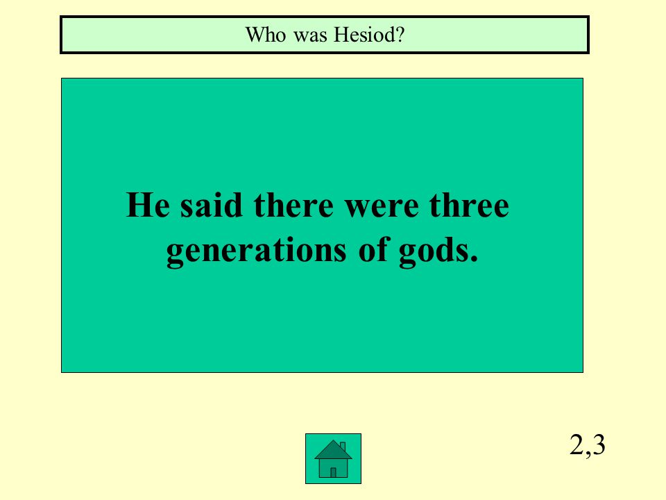 2,3 He said there were three generations of gods. Who was Hesiod?