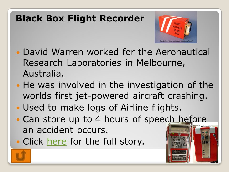 David Warren worked for the Aeronautical Research Laboratories in Melbourne, Australia. He was involved in the investigation of the worlds first jet-p