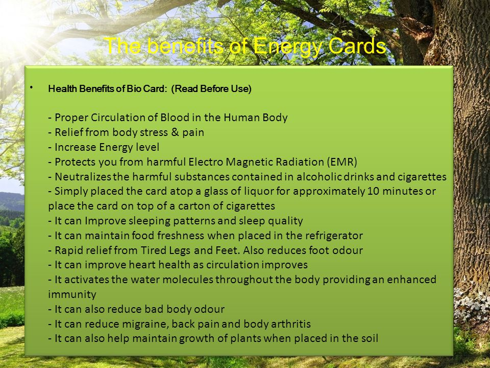 The benefits of Energy Cards Health Benefits of Bio Card: (Read Before Use) - Proper Circulation of Blood in the Human Body - Relief from body stress
