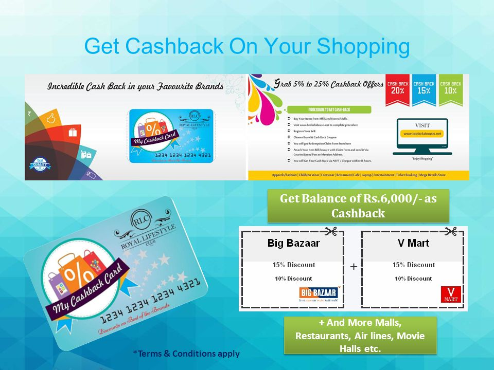 Get Cashback On Your Shopping Get Balance of Rs.6,000/- as Cashback + And More Malls, Restaurants, Air lines, Movie Halls etc.