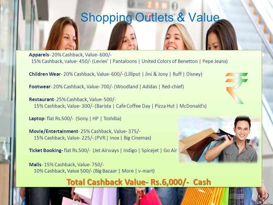Shopping Outlets & Value Apparels- 20% Cashback, Value- 600/- 15% Cashback, value- 450/- (Levies | Pantaloons | United Colors of Benetton | Pepe Jeans) Children Wear- 20% Cashback, Value- 600/- (Lilliput | Jini & Jony | Ruff | Disney) Footwear- 20% Cashback, Value- 700/- (Woodland | Adidas | Red-chief) Restaurant- 25% Cashback, Value- 500/- 15% Cashback, Value- 300/- (Barista | Cafe Coffee Day | Pizza Hut | McDonald s) Laptop- flat Rs.500/- (Sony | HP | Toshiba) Movie/Entertainment- 25% Cashback, Value- 375/- 15% Cashback, Value- 225/- (PVR | Inox | Big Cinemas) Ticket Booking- flat Rs.500/- (Jet Airways | Indigo | Spicejet | Go Air | Malls- 15% Cashback, Value- 750/- 10% Cashback, Value 500/- (Big Bazaar | More | v-mart) Total Cashback Value- Rs.6,000/- Cash Apparels- 20% Cashback, Value- 600/- 15% Cashback, value- 450/- (Levies | Pantaloons | United Colors of Benetton | Pepe Jeans) Children Wear- 20% Cashback, Value- 600/- (Lilliput | Jini & Jony | Ruff | Disney) Footwear- 20% Cashback, Value- 700/- (Woodland | Adidas | Red-chief) Restaurant- 25% Cashback, Value- 500/- 15% Cashback, Value- 300/- (Barista | Cafe Coffee Day | Pizza Hut | McDonald s) Laptop- flat Rs.500/- (Sony | HP | Toshiba) Movie/Entertainment- 25% Cashback, Value- 375/- 15% Cashback, Value- 225/- (PVR | Inox | Big Cinemas) Ticket Booking- flat Rs.500/- (Jet Airways | Indigo | Spicejet | Go Air | Malls- 15% Cashback, Value- 750/- 10% Cashback, Value 500/- (Big Bazaar | More | v-mart) Total Cashback Value- Rs.6,000/- Cash