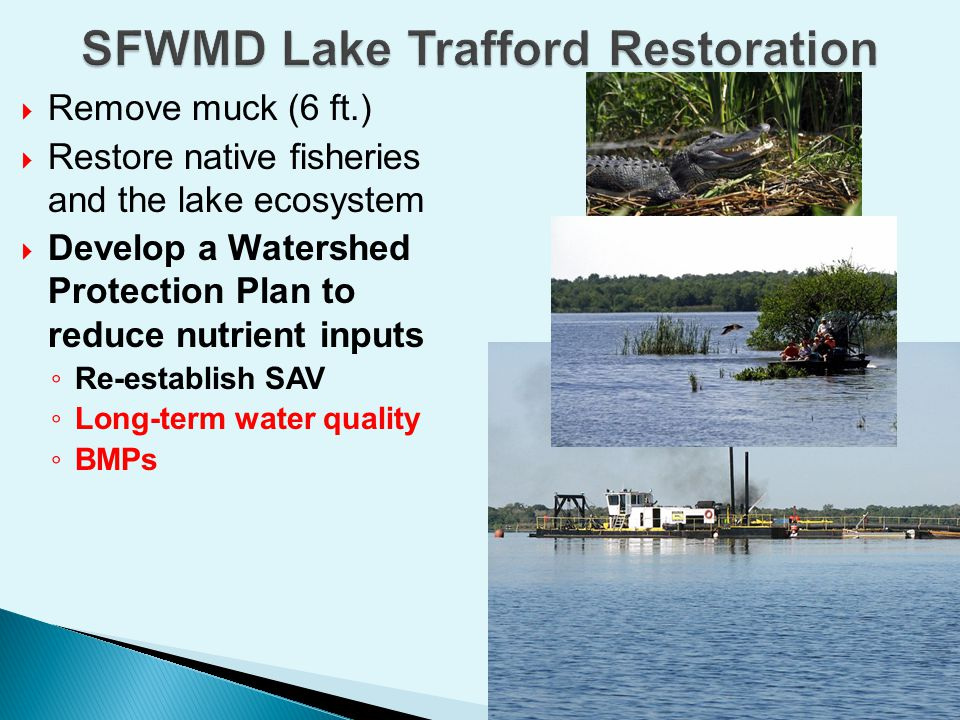  Adaptive  Best Management Practices  Agricultural and urban  Point and non-point  Beyond BMPs  Water storage and treatment on public and private lands  Treatment systems (STAs)  Model-based evaluation  Water quality and economics  Ranking of alternatives  Stakeholders  Urban (Residents, City)  Agriculture, Tourism  SFWMD, FDEP, County, FDACS, FWC etc