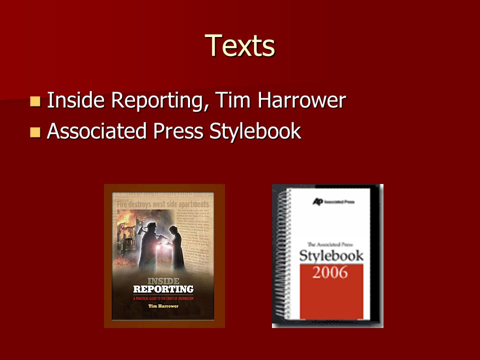 Texts Inside Reporting, Tim Harrower Inside Reporting, Tim Harrower Associated Press Stylebook Associated Press Stylebook