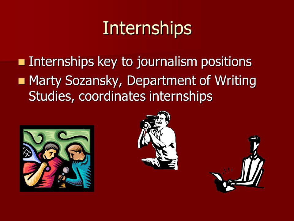 Internships Internships key to journalism positions Internships key to journalism positions Marty Sozansky, Department of Writing Studies, coordinates internships Marty Sozansky, Department of Writing Studies, coordinates internships