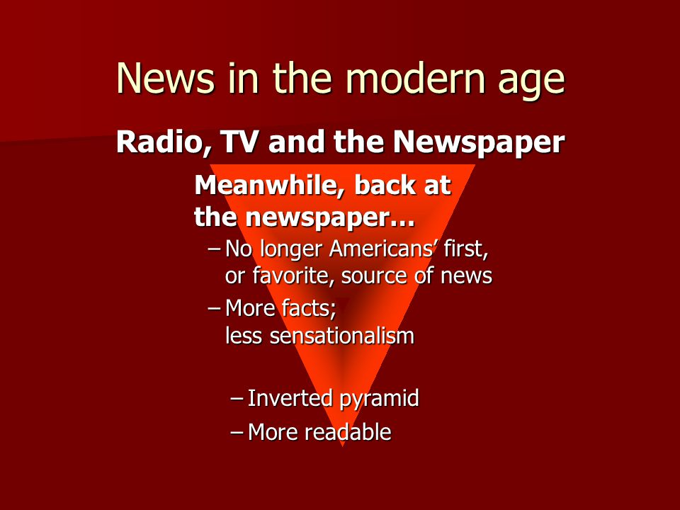 –Inverted pyramid –No longer Americans' first, or favorite, source of news –More facts; less sensationalism –More readable Radio, TV and the Newspaper Meanwhile, back at the newspaper… News in the modern age