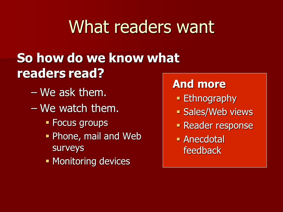 What readers want –We ask them. –We watch them.