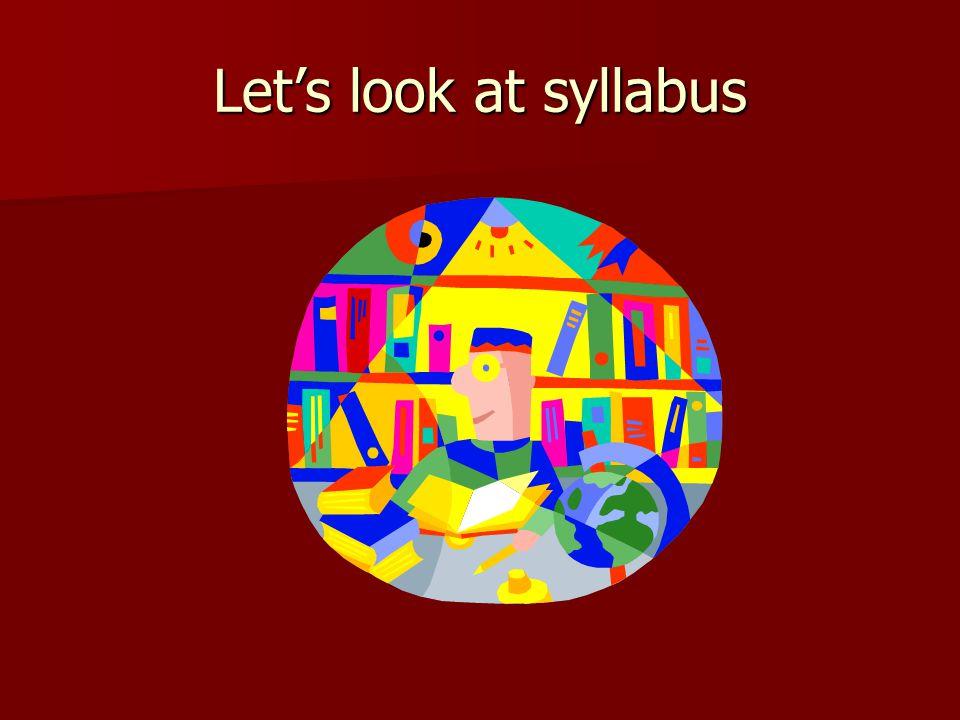 Let's look at syllabus