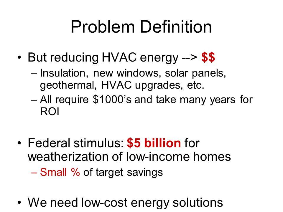 But reducing HVAC energy --> $$ –Insulation, new windows, solar panels, geothermal, HVAC upgrades, etc.