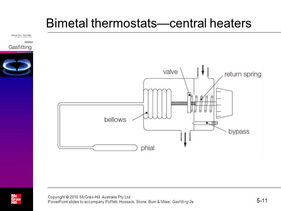 Bimetal thermostats—central heaters 5-11 Copyright  2010 McGraw-Hill Australia Pty Ltd PowerPoint slides to accompany Puffett, Hossack, Stone, Burn & Miles, Gasfitting 2e