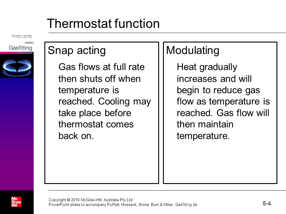 Thermostat function Snap acting Gas flows at full rate then shuts off when temperature is reached. Cooling may take place before thermostat comes back