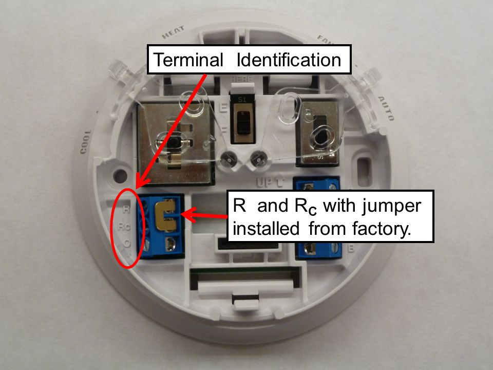 Terminal Identification R and RC RC with jumper installed from factory.