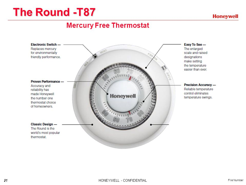 21HONEYWELL - CONFIDENTIAL File Number The Round -T87 Mercury Free Thermostat