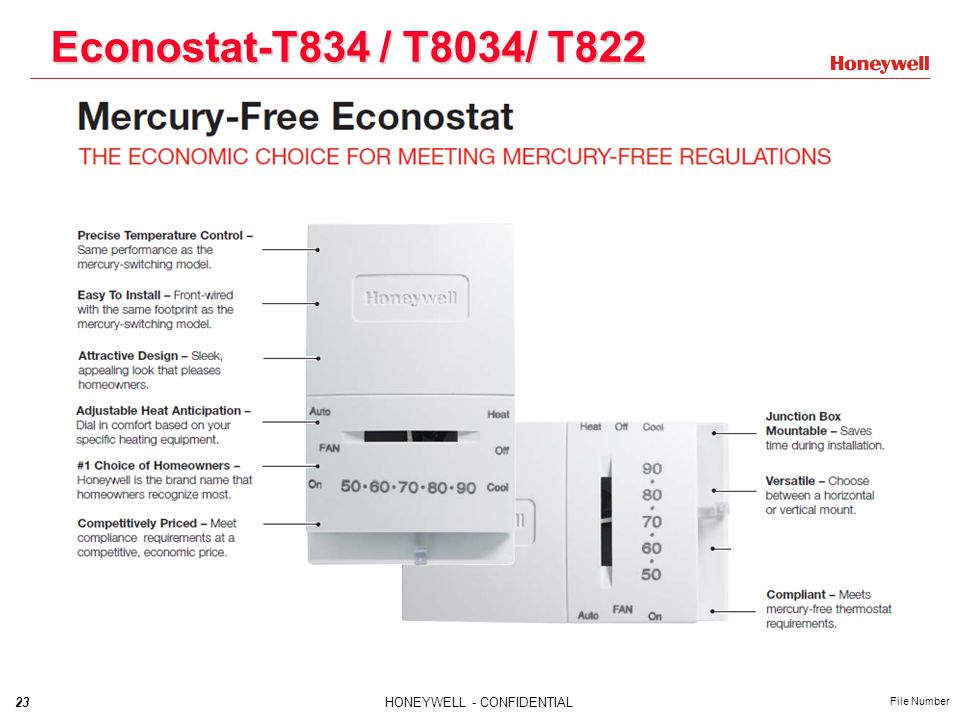 23HONEYWELL - CONFIDENTIAL File Number Econostat-T834 / T8034/ T822