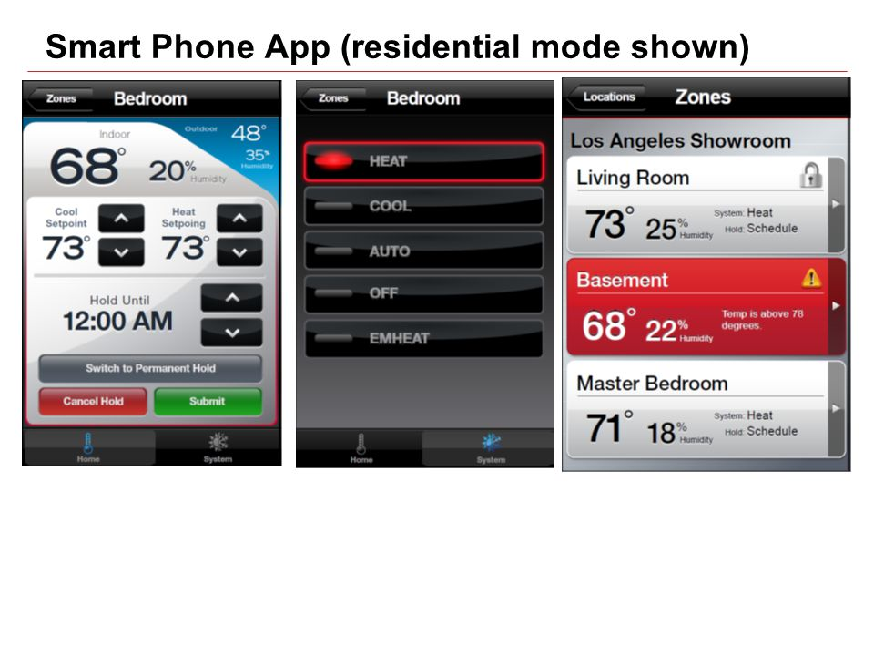 Smart Phone App (residential mode shown)