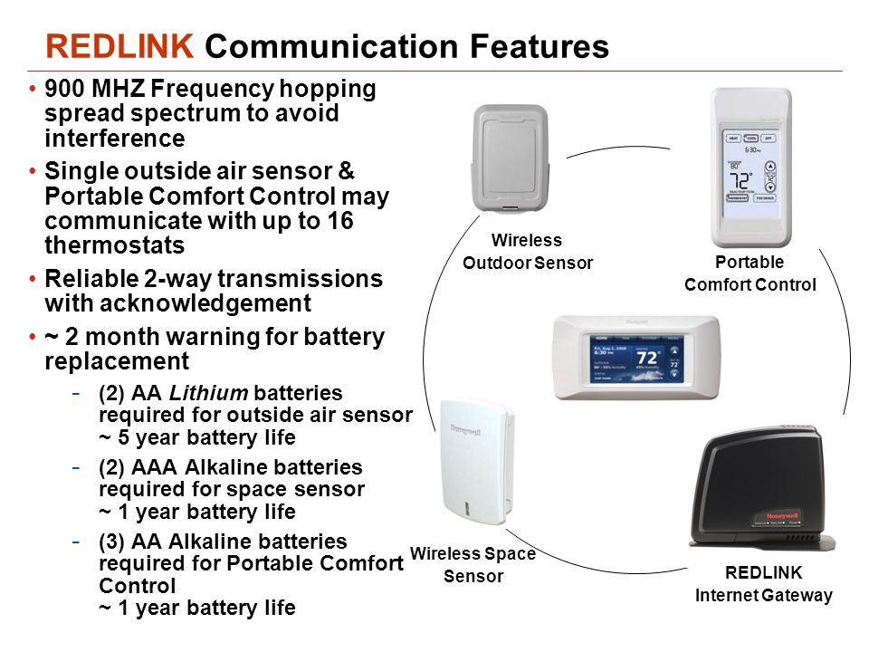 REDLINK Communication Features 900 MHZ Frequency hopping spread spectrum to avoid interference Single outside air sensor & Portable Comfort Control may communicate with up to 16 thermostats Reliable 2-way transmissions with acknowledgement ~ 2 month warning for battery replacement - (2) AA Lithium batteries required for outside air sensor ~ 5 year battery life - (2) AAA Alkaline batteries required for space sensor ~ 1 year battery life - (3) AA Alkaline batteries required for Portable Comfort Control ~ 1 year battery life Wireless Outdoor Sensor Portable Comfort Control Wireless Space Sensor REDLINK Internet Gateway