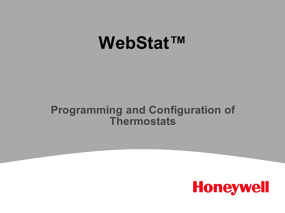 WebStat™ Programming and Configuration of Thermostats