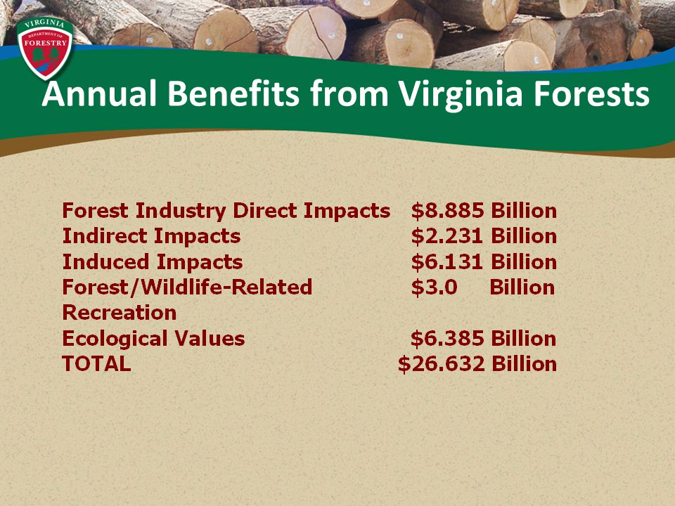 Annual Benefits from Virginia Forests
