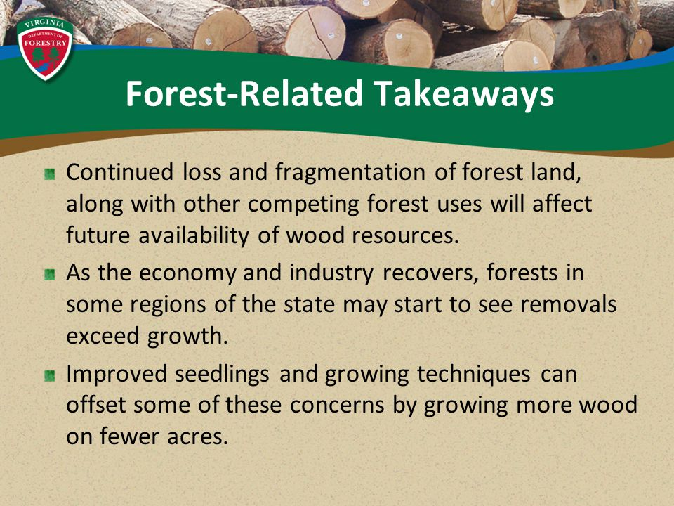 Forest-Related Takeaways Continued loss and fragmentation of forest land, along with other competing forest uses will affect future availability of wood resources.