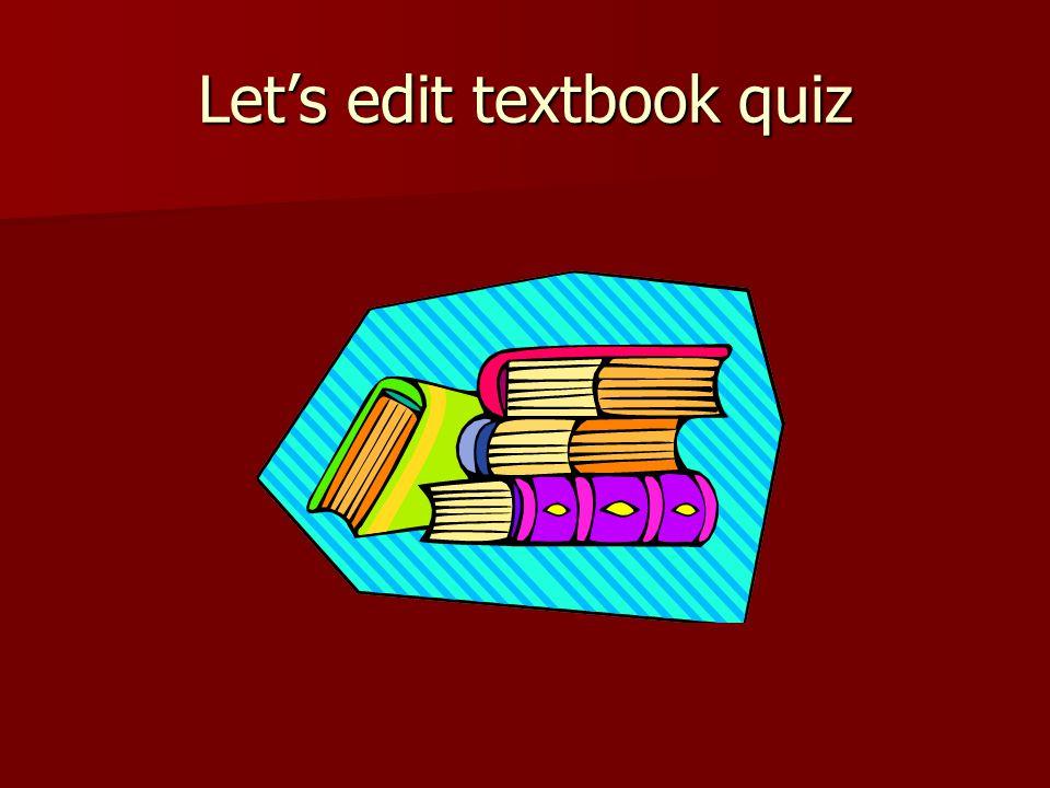 Let's edit textbook quiz
