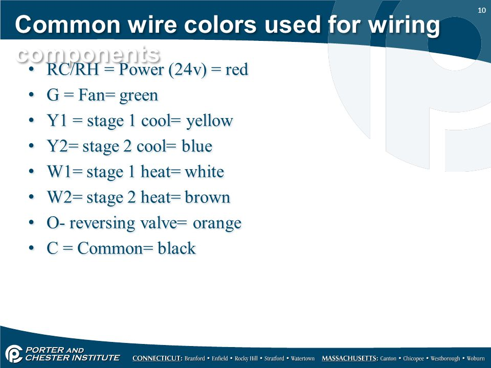 10 Common wire colors used for wiring components RC/RH = Power (24v) = red G = Fan= green Y1 = stage 1 cool= yellow Y2= stage 2 cool= blue W1= stage 1