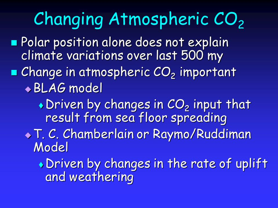 Changing Atmospheric CO 2 Polar position alone does not explain climate variations over last 500 my Polar position alone does not explain climate variations over last 500 my Change in atmospheric CO 2 important Change in atmospheric CO 2 important  BLAG model  Driven by changes in CO 2 input that result from sea floor spreading  T.